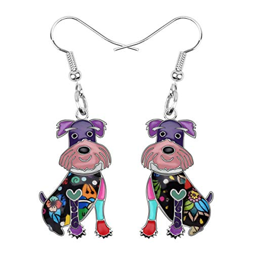 NEWEI Enamel Alloy Cut Sitting Schnauzer Dog Earrings Drop Dangle Unique Fashion Animal Jewelry For Women Girls Gift (Dog Dangle Earrings)