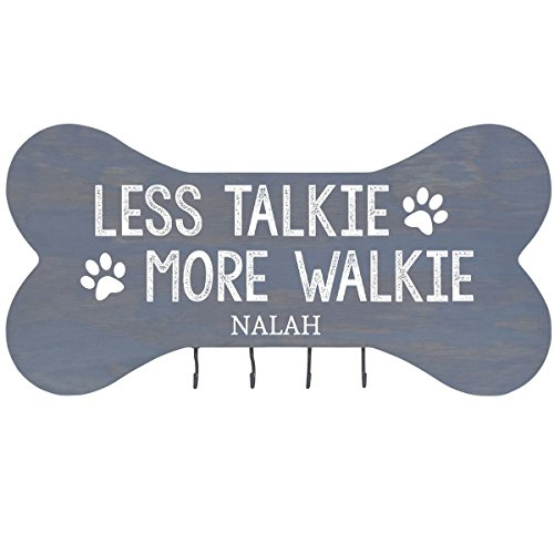 Oak Plank Classics (Personalized Less Talkie More Walkie Wall Mounted Dog Bone Pet Leash Rack,Dog Collar Holder New Home Gift ideas and 4 hooks 16