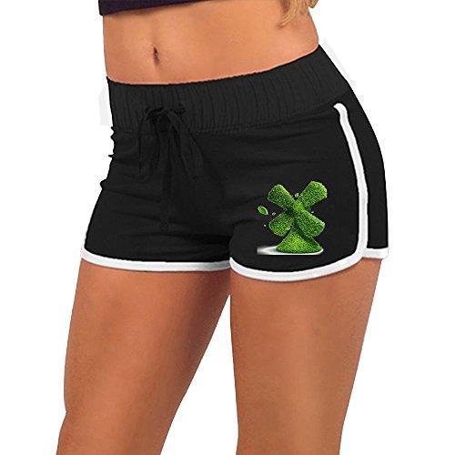 Quliuwuda Women's Green Plant Fan Black Skinny Gym L Adjustable Low Waist Hot (Hottie Hot Pants)