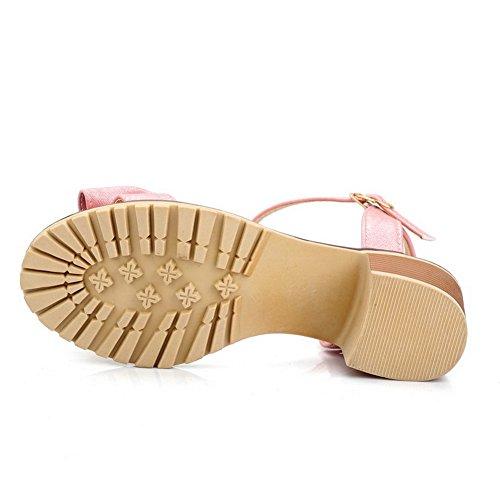 AllhqFashion Puntera Abierta Tacón ancho Hebilla Sólido Sandalias de vestir con Lazos Rosa
