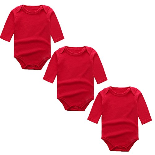 Red Infant Onesie - 3-Pack Long Sleeve Bodysuits for Infant Girls Boys, (0-3 Months, Red)