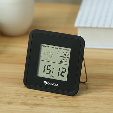 Clocks - Dg-Fc25 Mini Almighty Weather Station Hygrometer Thermometer Forecast Sensor Alarm Clock - Upwind Detector Alert Time Windward Endure System Brave Consternation - 1PCs