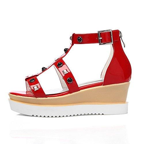 AmoonyFashion Womens Solid Cow Leather Kitten-Heels Open Toe Zipper Sandals Red KHg3kL11kS