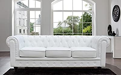 Tufted Scroll Arm Black / White Bonded Leather Sofa (White, Sofa)