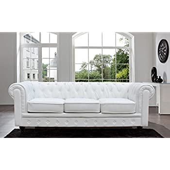 Tufted Scroll Arm Bonded Leather Sofa