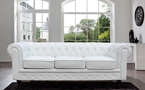 Tufted Scroll Arm Black / White Bonded Leather Sofa (White, Sofa) (Upholstered Chesterfield Sofa)