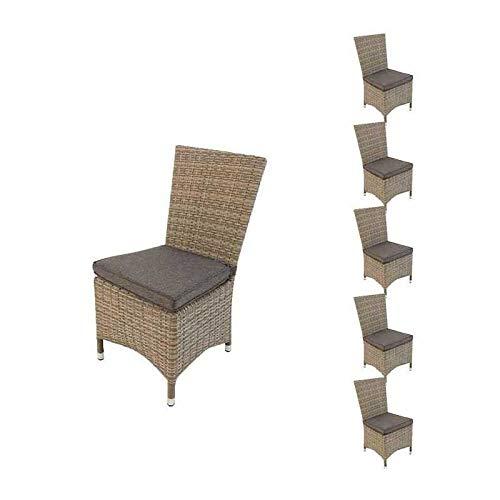 Edenjardi Pack 6 sillas de Exterior con faldón, Tamaño: 48x58x95 cm, Aluminio y rattán sintético Color Gris, Cojín Antracita