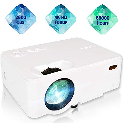 Mini Projector, 1080P Portable Projector with 55,000 Hrs, 180″ Display 2800L Movie Projector for Outdoor Use, Home Theater Projector Compatible with Laptop, Phones, PS4, TV Stick, HDMI, VGA,TF,AV, USB