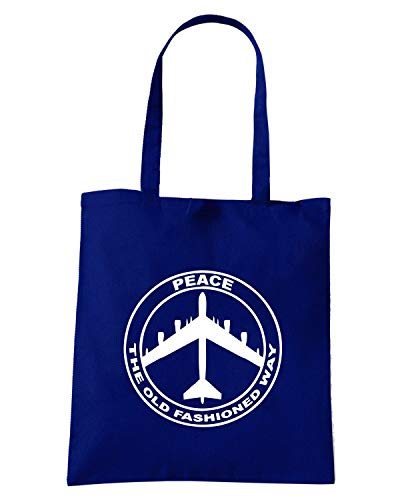 Speed Shirt Borsa Shopper Blu Navy FUN0663 B52 PEACE SIGN THE OLD FASHIONED WAY 28987