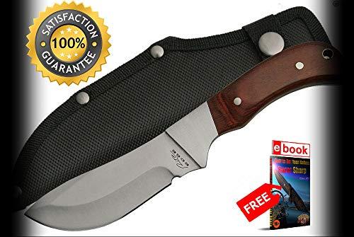 (FIXED BLADE HUNTING SHARP KNIFE 4'' Blade Wood Handle Hunter Skinner + Sheath Combat Tactical Knife + eBOOK by Moon Knives)