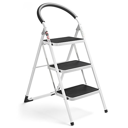 Delxo 3 Step Ladder Folding Step Stool 3 Step ladders with Handgrip Anti-Slip and Wide Pedal Sturdy Steel Ladder 330lbs White and Black Combo (3 feet) (3 Step Ladder) - Folding Chair Ladder