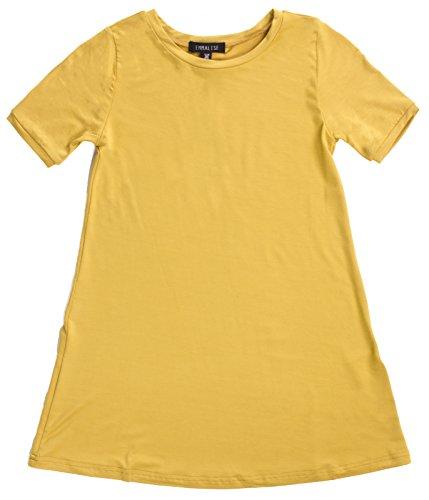 Emmalise Clothing Girl's Summer Spring Casual Fashion Jersey T-Shirt Dress - Mustard 7/8 (Shirt Mustard Girl)