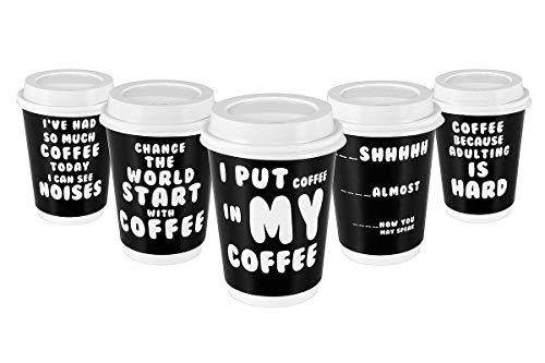 Fun Coffee - Premium 12oz Disposable Paper Coffee Cups With Lids (50ct) - 5 Fun Quotes in Each Pack - Make Your Own Coffee or Tea With These Paper Coffee Cups - Insulated Double Wall - No Need For Sleeves