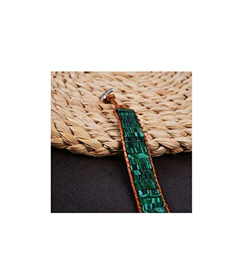 Fashbag Handmade Malachite Stone Thread Tube Beads Leather Cowhide Rope Wrap Bracelets Jewelry Women Gift SL-40 6.7inches