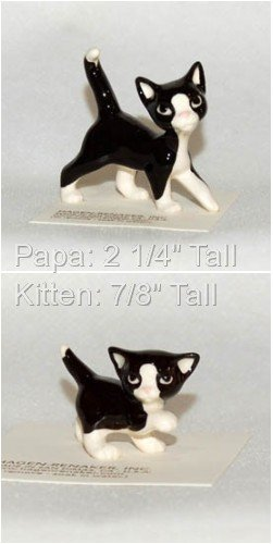 Hagen Renaker Black and White Papa and Kitten Set of 2 Hand-crafted Ceramic Figurines