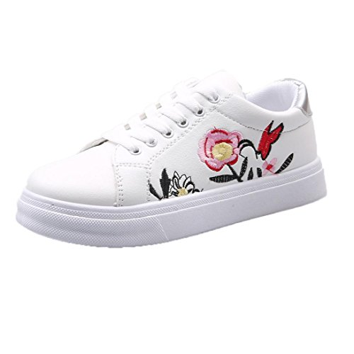 Plimsoll Canvas (Elevin(TM) 2018Women Breathable Lace up Embroidery Flower Tennis Sport Athletic Sneakers Plimsoll Canvas Shoes (6US, White))