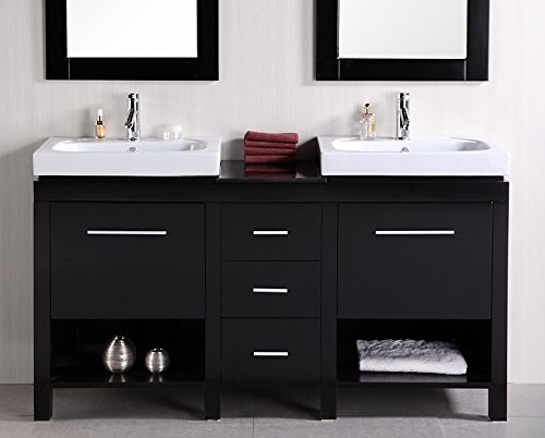 Design Element New York Double Integrated Porcelain Drop-In Sink Vanity Set, 60-Inch