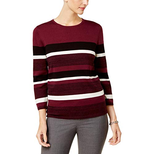 Alfred Dunner Womens Striped Long Sleeves Pullover Sweater Purple L ()