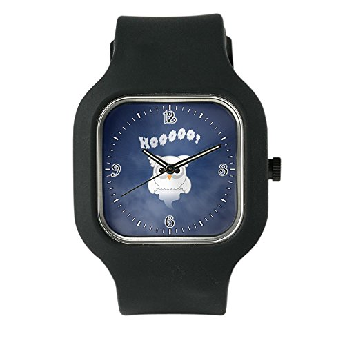 Black Fashion Sport Watch Spooky Little Ghost Owl in the Mist