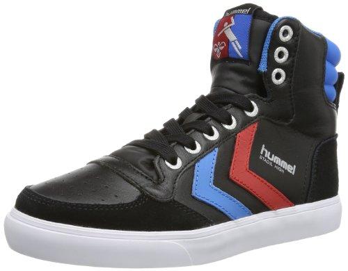 Bourdons Basket Montante Unisexe Adulte - Stadil Haute - Chaussures De Sport Noir Et Blanc - Moitié Chaussures En Cuir / Velour - Baskets Classiques - Baskets Confort Semelle Noire (noir / Bleu / Rouge / Gomme)