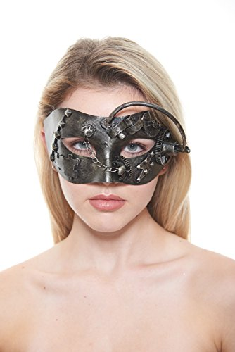 Bronze Terminator Full-Face Steam Punk Masquerade Mask with Studs, Chains, Rod and Appliques (Unisex; One Size Fits Most)