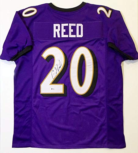 Ed Reed Autographed Purple Pro Style Jersey - Beckett Auth ()
