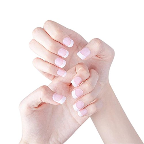 JINDIN 24 Sheet French Fake Nails With Short Design Square Head False Nails White Decorated For Women Home Manicure Art Tips Beauty