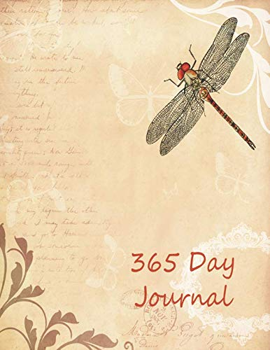 (365 Day Journal: Daily diary notebook for 1 Year, large size paperback book features cream colored lined interior paper.  Vintage parchment theme on cover with dragonfly and paisley flowers.)
