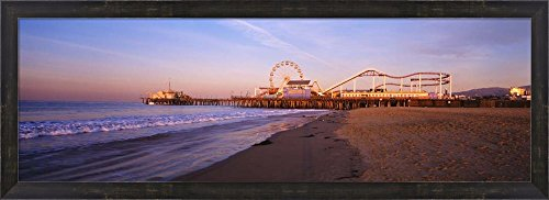 Santa Monica Pier, California by Panoramic Images Framed Art Print Wall Picture, Espresso Brown Frame, 39 x 14 - Beach Clean Is Monica Santa