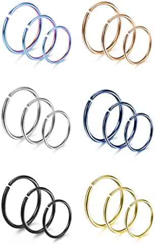 Udalyn 18 Pcs 18-20G Stainless Steel Nose Ring Cartilage Hoop Piercing For Wem Women 6 Mixed Colors
