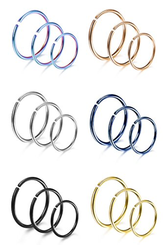 Udalyn 18 Pcs 18G Stainless Steel Nose Ring Cartilage Hoop Piercing for Men Women 6 Mixed Colors