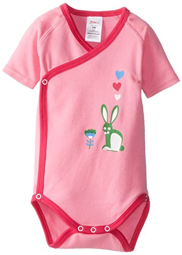 (Zutano Baby Girls' Baby Bunny Screen Short Sleeve Wrap, Hot Pink, 12 Months)