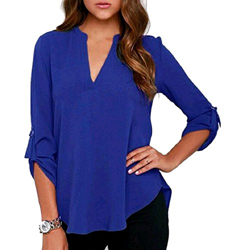 Destjoy Clothing Women's Frill Notch Collar Long Sleeve Chiffon Loose Western Shirt Blouses Top Tunic,US3XLarge,Pattern2 ()