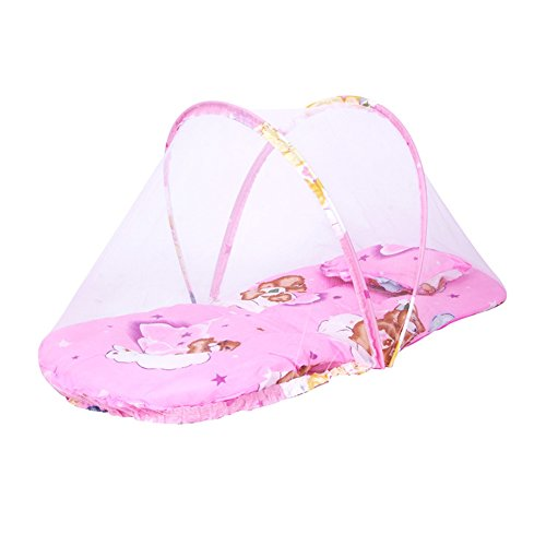Baby Infant Bed Canopy Mosquito Net Cotton-padded Mattress Pillow (Pink)