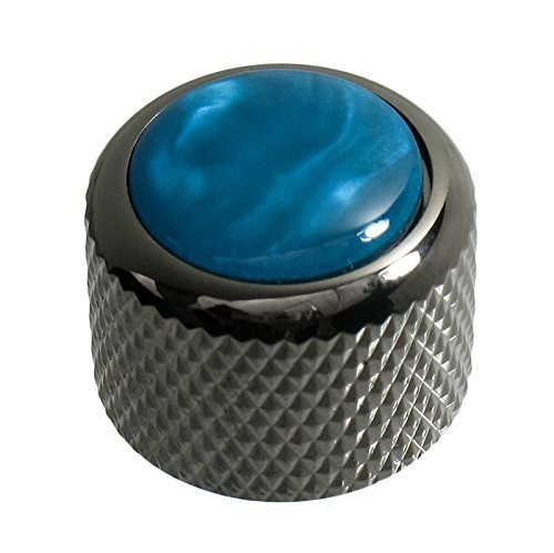 Knobs Acrylic Dome (Q-Parts Dome Guitar Knob, Black Chrome with Acrylic Aqua Pearl Inlay)