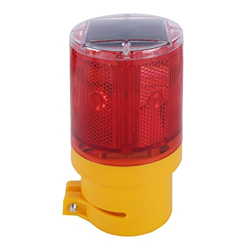 Qooltek Solar Powered Emergency LED Strobe Warning Light Wireless Garden Lamp Flashing Barricade Safety Sign Road Construction Signs Flash Traffic Lights Flicker Beacon Lamps (Red) -
