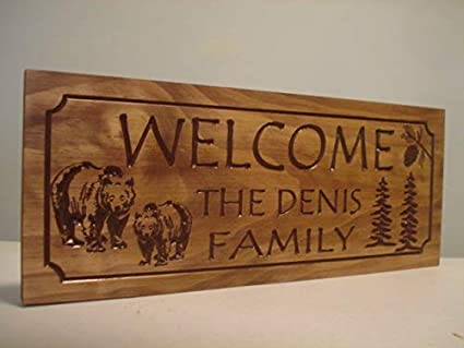 Amazon Com Rustic Camp Cabin Hunting Signs Welcome Signs Bear