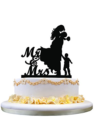 (Couple with Little Boy Silhouette, Mr and Mrs Wedding Cake Topper)