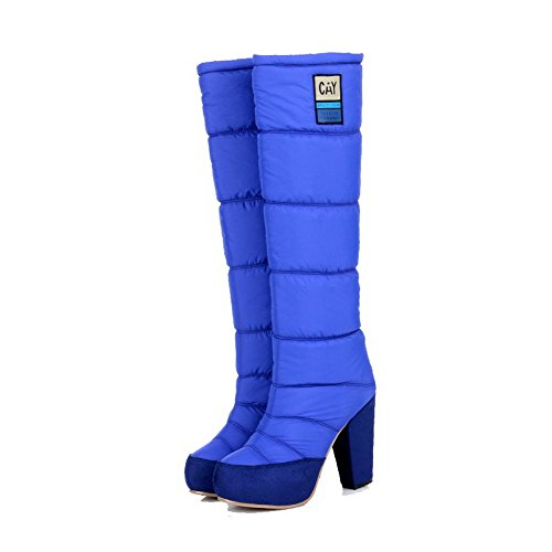 Stivali e punta alto Agoolar alto tacco tacco tinta blu rotonda con unita qpARxd