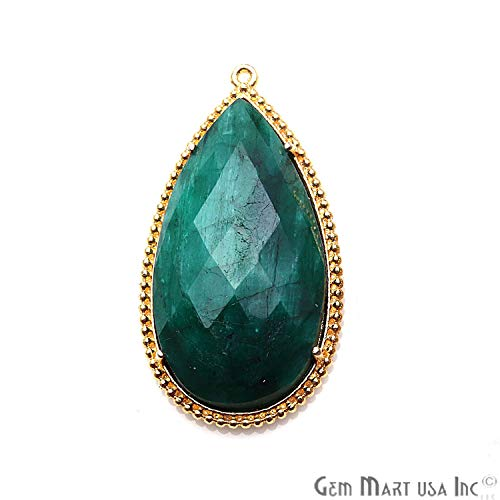 Emerald Gemstone Pear Pendant, Gold Plated, Single Bail, Faceted Stone, Earring Connector, 35x19mm, GemMartUSA - 1pc (GPEM-50190)