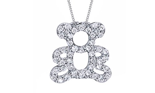 Jewel Zone US White Natural Diamond Teddy Bear Pendant Necklace in 14k White Gold Over Sterling Silver (1/4 Ct)