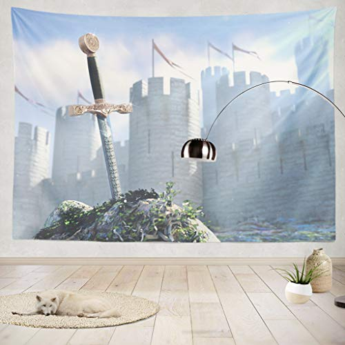 ONELZ Decor Collection,Legend About King Arthur The Sword in Stone Bedroom Living Room Dorm Wall Hanging Tapestry 60