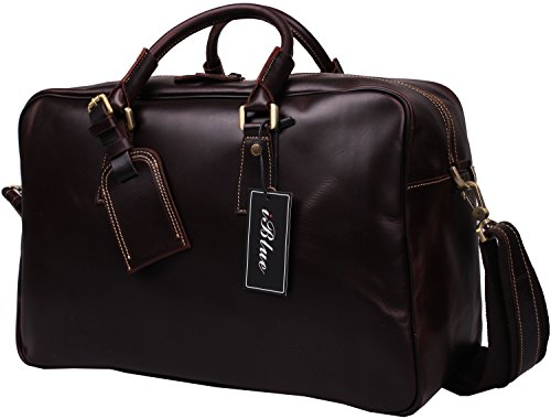 Iblue Men Leather Duffle Travel Overnight Weekend Bag Brown D03 (L, dark brown-2) by iblue