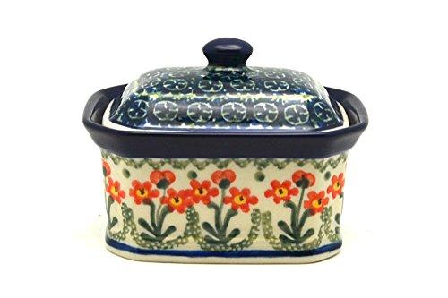 Polish Pottery Cake Box - Small - Peach Spring Daisy