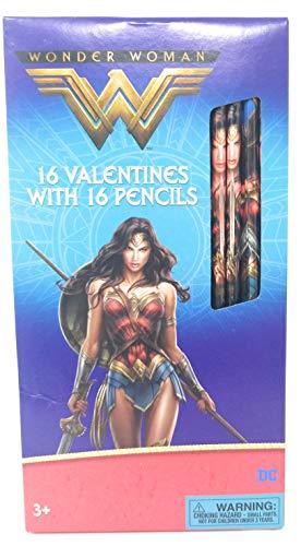 Wonder Woman Valentine's With Pencils -