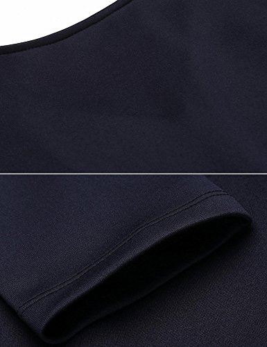Meaneor Damen Elegantes Rückenfrei Cocktailkleid Halbarm Businesskleid Meerjungfrau Etuikleid Freizeitkleid Marineblau NY4Ov