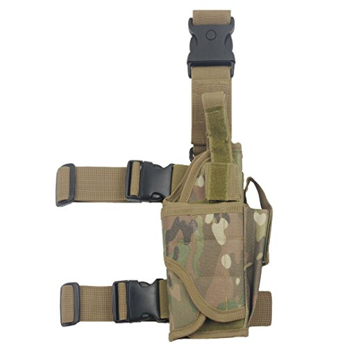 Tactical Leg Holster - Adjustable Pi)stol Hand Gun Drop Leg Thigh Holster Harness W/ Magazine Pouch Right Handed Bundled With Skull Face Tube Mask(CP Right Leg Holster