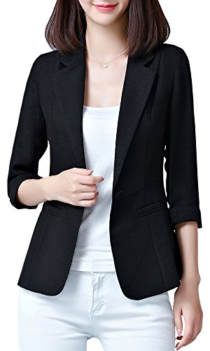 Women's One Button Blazer Suit Jacket, Black US 12 = Tag 4XL (3/4 ()