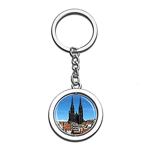 Clermont Ferrand France 3D Crystal Creative Keychain Spinning Round Stainless Steel Key Chain Ring Travel City Souvenir Collection