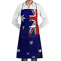 Hkitchenus Australia Flag Fingerprint Aprons Bib Mens Womens Lace Adjustable Polyester Gardening Bbq Grill Chef Cooking Long Full Kitchen Aprons For Cafe Outdoor Cleaning Serving Crafting Baking